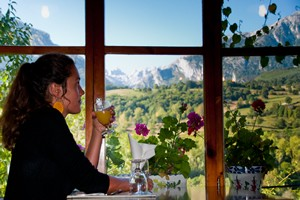 somebody having breakfast with a view of the Picos de Europa Mountains